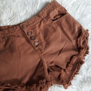 1991 frayed mid rise shorts size 8 brown distress